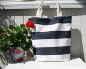 Navy and white stripe - Handmade everyday tote / handbag/ shopping bag