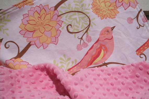 SALE - Minky Baby Blanket for your Baby Girl - Bird Paisley with Hot Pink Minky Dot - Personalization Available- Made To Order