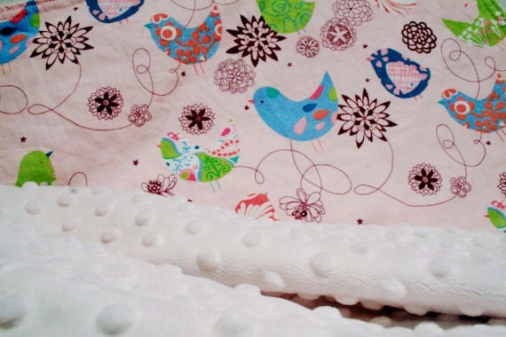 Minky Baby Blanket - Pink Starlings with Cream Minky - Personalization Options Available Available