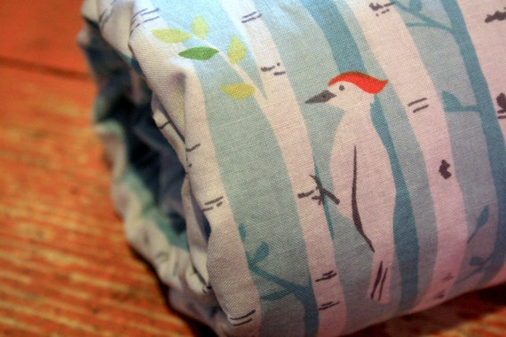 Sale - Gender Neutral Baby Blanket - Birch Forest and Gray Minky Dot - Personalization Options Available