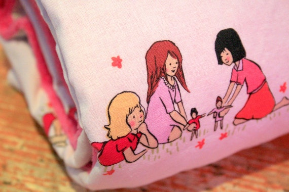 Girl Baby Blanket - Dolls in Cream with Fuchsia Pink Minky - Personalization Options Available
