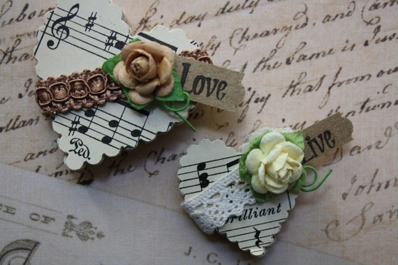 Paper Hearts Punched From Vintage Sheet Music
