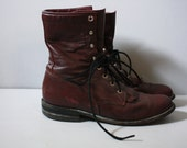 Vintage  Leather Combat boots Lace ups 1960's  Red Wine color