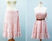 Vintage multi use dress skirt pale old pastel pink ruffled zipper bow on side