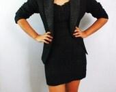 Vintage Black Blazer, complex neckline texture, bead shell.