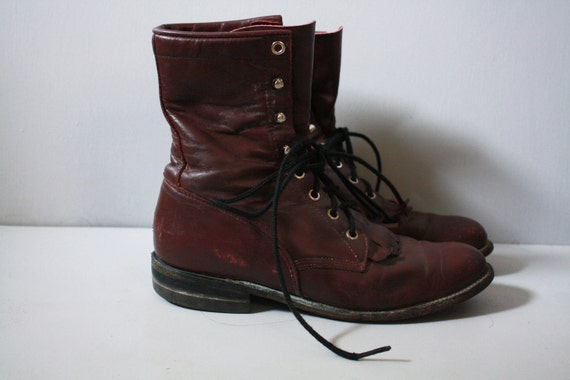 Vintage Leather Combat boots Lace ups 1960's Red Wine