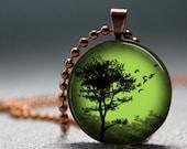 SALE Copper Emerald Sunset Tree Domed Resin Pendant C166-1CM
