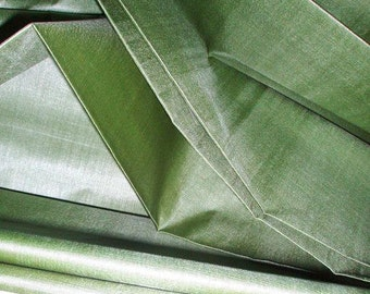 "Pure Silk. Peace Silk. Ahimsa Silk by yard. Handwoven. Slow Fashion Fabric. Natural organic fairtrade. 42"" / 106 cm wide. Sage Green color."