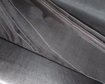 "Handwoven pure silk fabric. Peace Silk. Ahimsa Silk. Slow Fashion fabric. Natural, organic, fairtrade. 42"" / 106 cm wide. Steel Grey color."