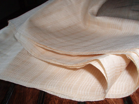 Half Yard - Cream Plaid 100% Handmade PEACE Silk to make Scarf, Top, Dress. Light Weight, Good Fall. Cruelty Free Ethical Vegan Silk.