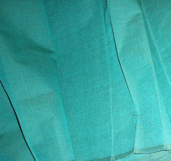 Cotton fabric by the yard in Teal (weft) and Old Green (warp). Dusty style.