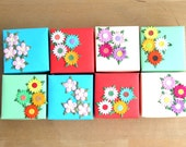Multi-color Gift Boxes embellished with Paper Flowers (set of 8)