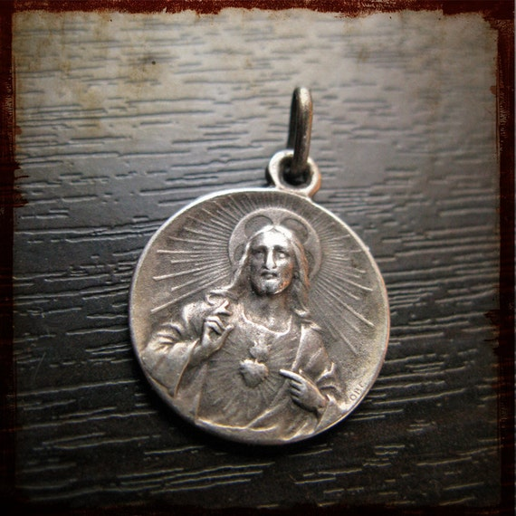 Antique French Sterling Silver Vintage Religious Medal Holy Sacred Heart and with Scapular Virgin Mary Our Lady Of Mount Carmel