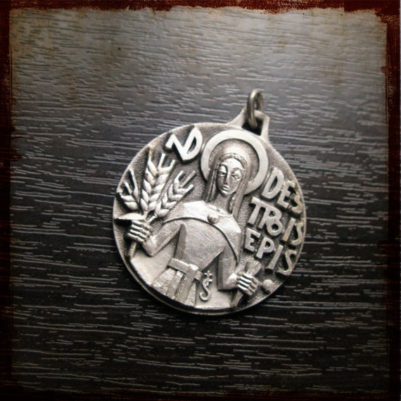 Vintage Silver Religious Medal of Notre Dame des trois Epis - Fernand Py style - Our Lady of 3 Ears - Modern french pendant
