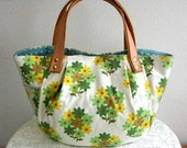 Japanese pretty floral Bag Purse Green