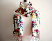 Elegant Floral cotton and rayon scarf / stole