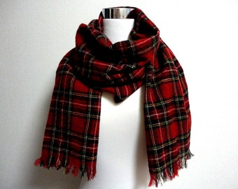 British traditional woven check scarf Red - 45cm x 180cm