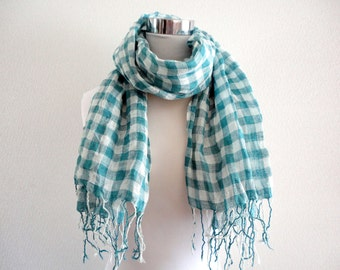 SALE Linen gauze block check scarf Turquoise blue and white