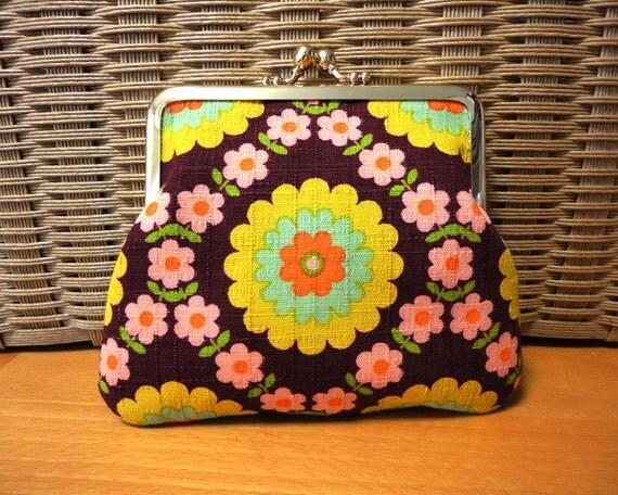 RETRO Circle flower Clutch purse bag BROWN