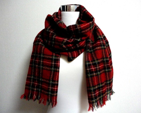 British traditional woven check scarf Red