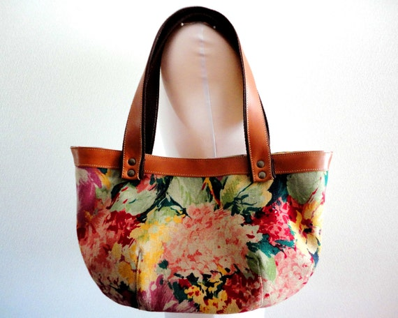 Rustic floral Real leather Bag Purse