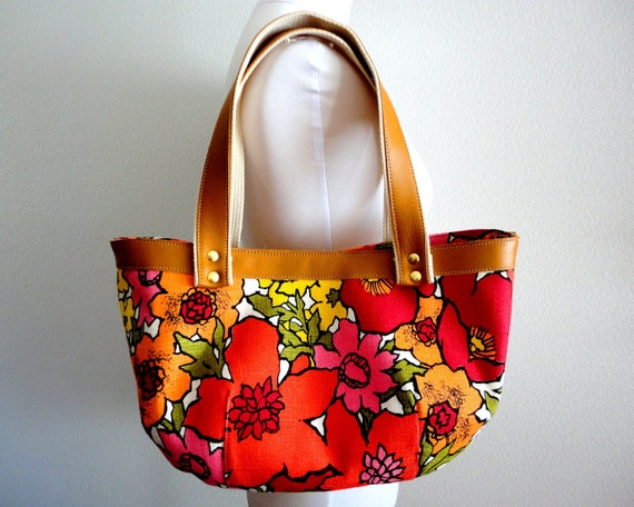 Mod Retro Orange floral Bag Purse with Real leather handles