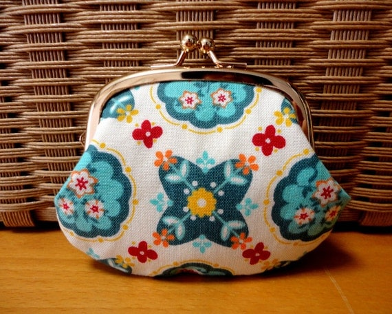 Tiny coin purse with Bohemian floral