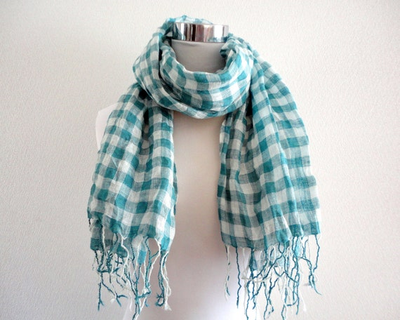 Linen gauze block check scarf Turquoise blue and white