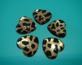 12 pcs Arcylic Leopard Heart Cabochons 13 mm (Gold color)