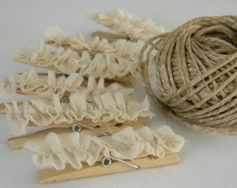 Set of handmade ruffled altered clothespins shabby chic inspired