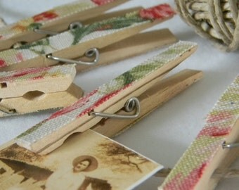 Floral clothespins shabby chic