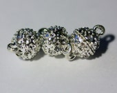 8mm Magnetic Pave Crystal Clasp Round Silver Tone Set of 10