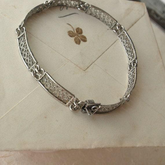Antique Filigree Bracelet, 800 Silver, Original, 1800s, Germany
