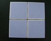 "Ceramic Coasters - ""Blue Gingham"" - Set of 4"