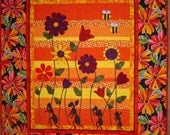 QUILT PATTERN - Ants - Flowers -  PDF Bright Quilt Flowers and Ants- Bees - Tiptoe Thru Carmens Garden- Wall Art