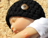 Baby Boy Hat Black with Brown Button - Photo Prop - Newborn - Reborn Doll - Made to Order - Buttons Will Vary