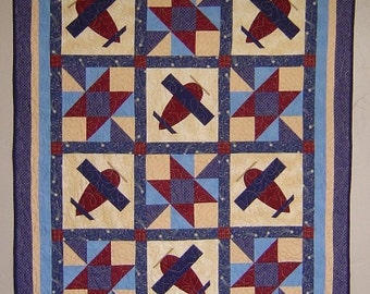 Baby Boy Airplane Quilt PATTERN - PDF - throw quilt - boy - EASY