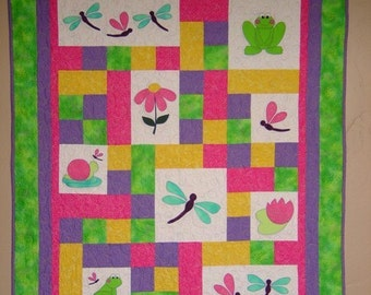 PATTERN - PDF - Baby Quilt - child - throw - quilt - frog - dragonfly - boy - girl
