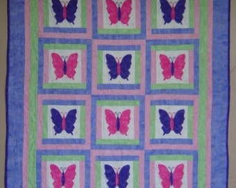 Baby Quilt PATTERN - Girl - PDF - Butterfly Quilt - Throw quilt- Baby quilt - girl