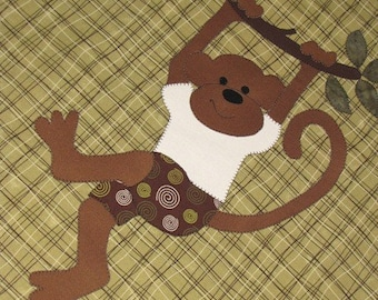 Baby Quilt PATTERN - Boy - Girl -  PDF - Monkeys Are People Too - Quilt -  - Wall Art