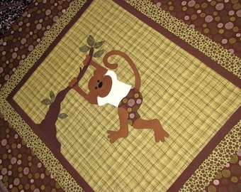 Baby Monkey Quilt PATTERN - Boy - Girl -  PDF - Monkeys Are People Too - Quilt -  - Wall Art