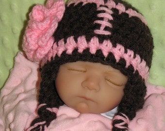 FOOTBALL Girl Newborn to 3 months - PHOTO Prop Earflap Hat with Flower - Made to Order