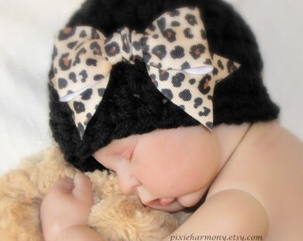 Baby Girl Hat - Photo Prop - Newborn - Black Beanie Cloche with Bow - REBORN Doll -  MADE to Order