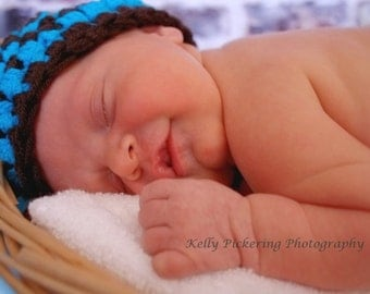 Baby Boy Hat- Photo Prop - Newborn Brown and Blue Striped Beanie with Button - Infant - Made to Order