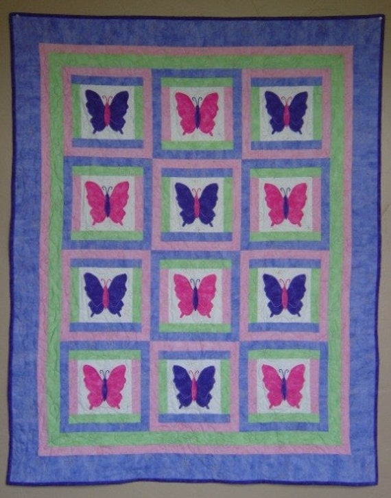 Baby Quilt PATTERN Girl PDF Butterfly Quilt Throw : butterfly baby quilt pattern - Adamdwight.com