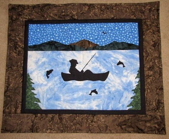Wall Art Fisherman Quilt PDF Pattern Lazy Dayz by pixieharmony