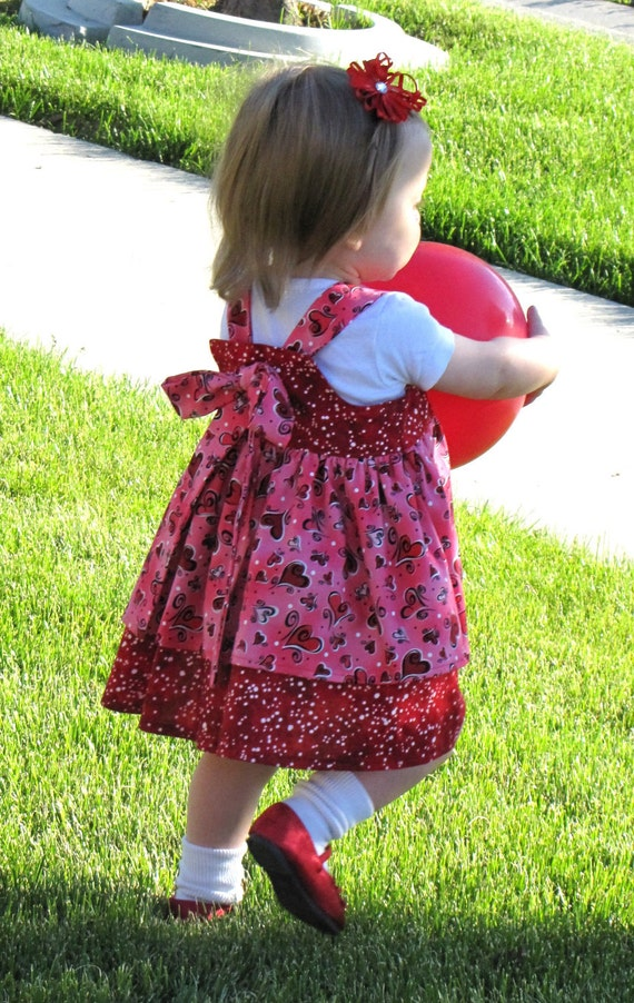 READY to SHIP - Toddler Girls Valentines Dress - SALE - Twirl Dress - OoAk - Red and Pink- Size 12-18 months - Boutique Dress