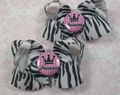 Set of two Princess Zebra print twisted boutique bows