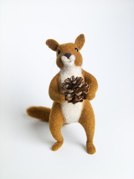 Felt Animals - Needle Felted Squirrel Miniature