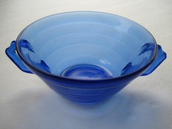 Depression glass cream soup bowl- cobalt blue Moderntone